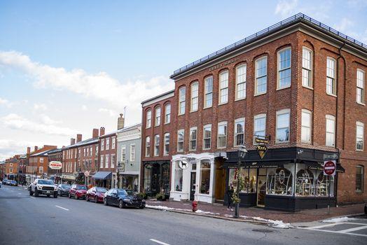 NEWBURYPORT, USA - DECEMBER 16, 2017: Newburyport is a small coastal, scenic, and historic city in Essex County, Massachusetts