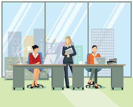Office workplace, people at work, illustration