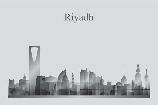 Riyadh city skyline silhouette in grayscale