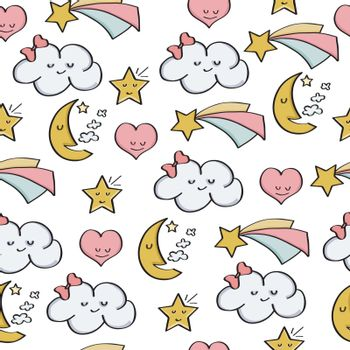 doodle seamless pattern with fantasy magical elements