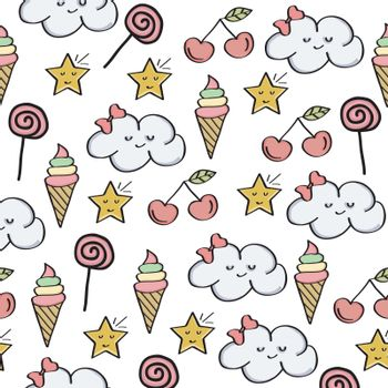 doodle seamless pattern with magical sweets elements