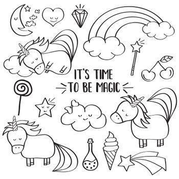 Doodle items collection with unicorns and other fantasy magical