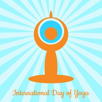 International Day of Yoga. The stylized figure of a man in a yoga asana sits. The rays come from the head. Behind the head is the Earth