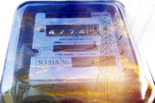 Electric power meter measuring power usage. Watt hour electric m