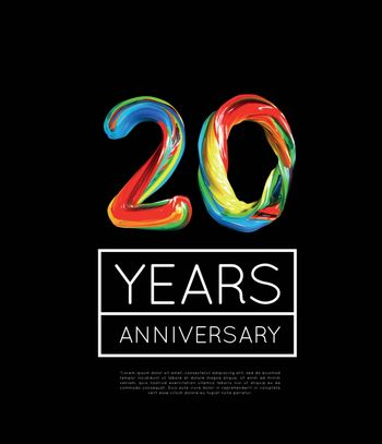 20th Anniversary, congratulation for company or person on black background. Vector illustration