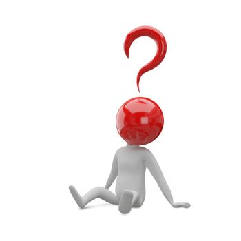 3D Illustration of an Abstract Man with a Head of the Question Sits on a White Background