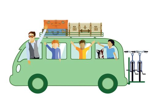 Family in the camping bus illustration