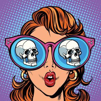 Woman with sunglasses. human skull in reflection. Comic cartoon pop art retro illustration vector kitsch drawing