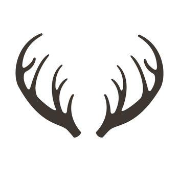 Deer horns illusrtation. Antlers silhouette icon. Hunting trophies. Reindeer