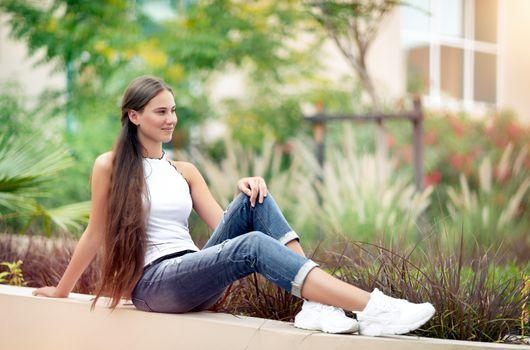 Nice female in the spring park
