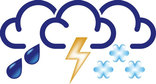 Stylized clouds with raindrops, lightning and snowflakes. All in one bad weather vector icon.