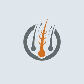 Strengthening of Hair Gray-Orange Vector Round Icon. Improve hair growth illustration