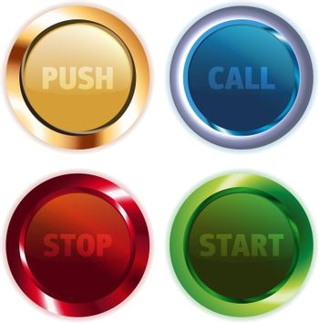 Set of metallic colorful round vector buttons for website or mobile application
