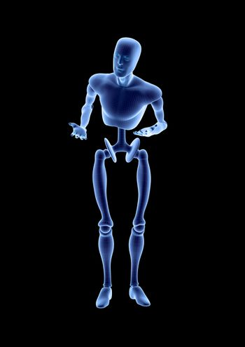 Blue humanoid robot android standing in a questioning pose. Isolated on black background. 3D illustration
