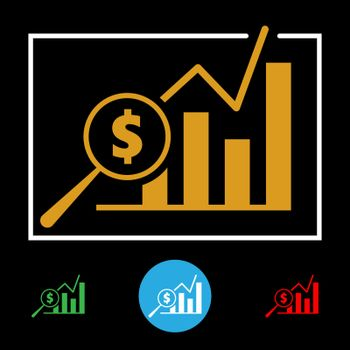 Business financial bar chart icon with dollar sign and magnifying glass. Vector illustration