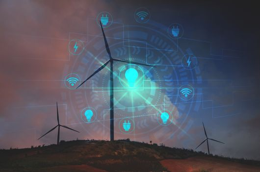 Wind turbines with icon virtual screens under the sky for techno