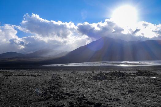 Sunset on laguna colorada in sud Lipez Altiplano reserva, Bolivi