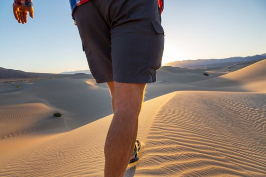Hike in sand desert