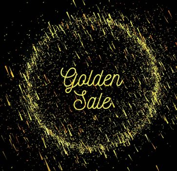 Gold rain sale background with bokeh. Vector illustration on dark background