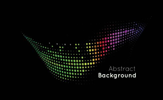 Abstract color vector background on black. Halftone style