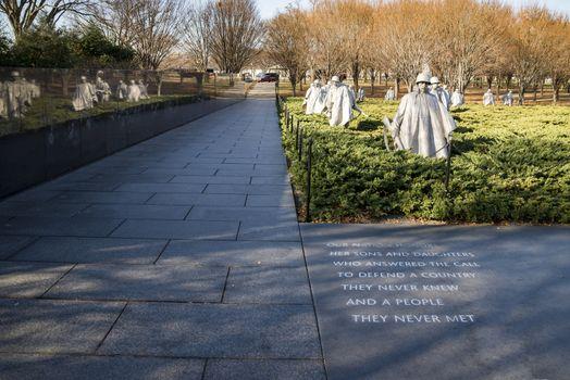 WASHINGTON DC - DECEMBER 21, 2017: statues in Korean War Memorial on December 21, 2017 in Washington, DC