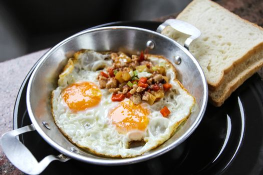 Indochina pan-fried egg with toppings in my homemade Thai style,