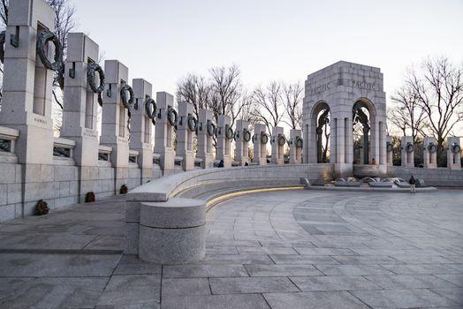 World War 2 Memorial at sunset during winter time in Washington DC