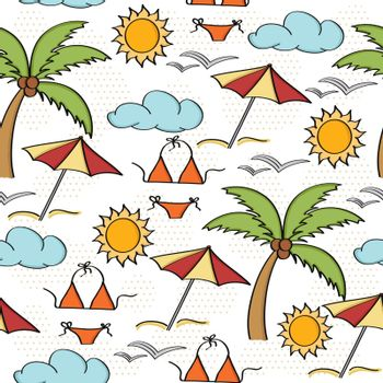 Doodle cartoon seamless pattern summer holiday concept