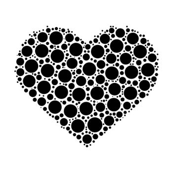 Heart mosaic of black dots. Vector illustration on white background.