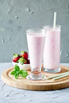 Glasses Of Strawberry Milshake