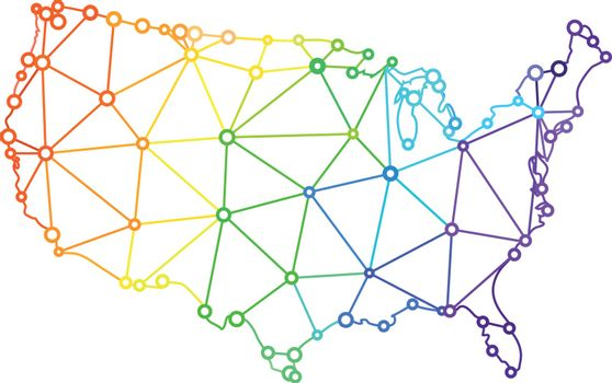 The LGBT flag in the form of a map of the United States of America. Vector illustration