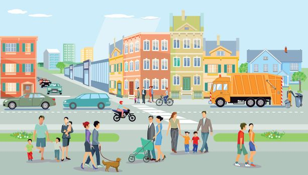 City with pedestrians and traffic, illustration