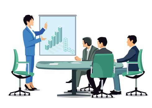 Business meeting, company balance sheet