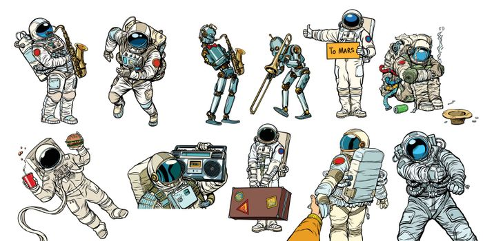 Set collection astronauts and robots