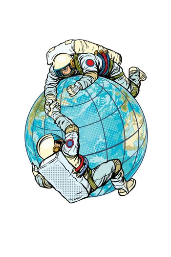 Two astronauts on the planet Earth help each other