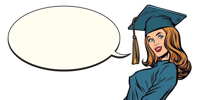 female graduate comic book bubble