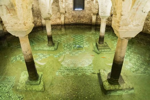 Floaded Cripta inside Saint Francis Church in the city of Ravenna in Italy Central