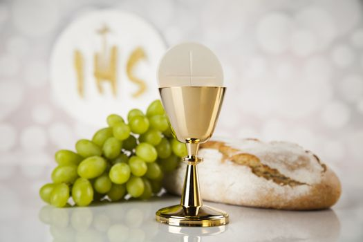 Holy communion for christianity religion, elements on white back