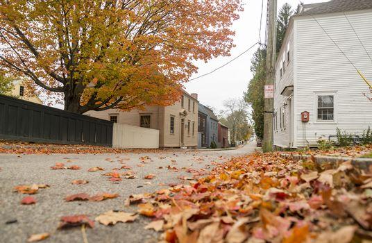 Street near Strawbery Banke Museum Portsmouth, New Hampshire, USA.