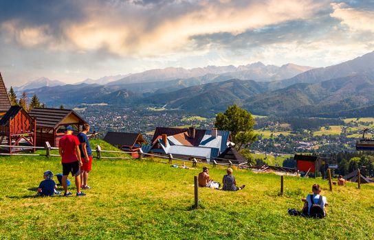 tourist observe High Tatra mountains