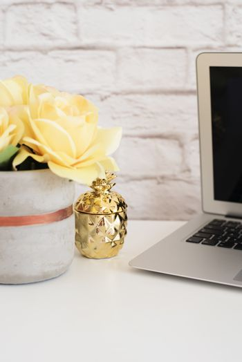 Brick Wall Product Display. Yellow Roses Mock Up. Styled Stock Photography. Golden pineapple and laptop on white desk. Fashion femininity workspace, Styled Stock Photo