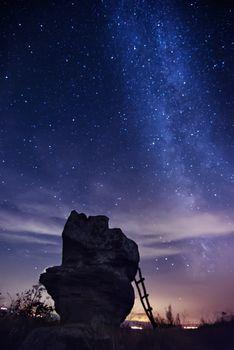 Milky Way over the rocks, Balkan Mountains, Bulgaria. Night Photography, Galaxy stars