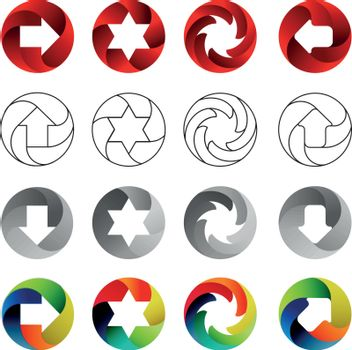 Set of signs, in the circular forms with the shadows inside. Arrows, stars, swirl in circle. Logo set, vector illustration on white