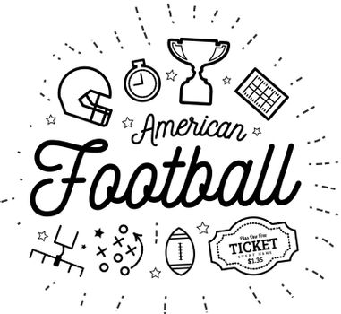 American football. Vector illustration in the style of thin lines with flat icons in black and white on white background
