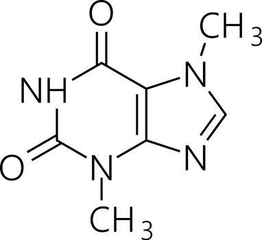 Caffeine molecule. Simple chemical skeletal formula. Vector illustration.