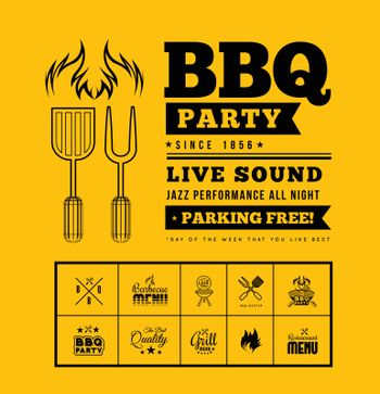Barbecue grill party. Vector illustration on on yellow background
