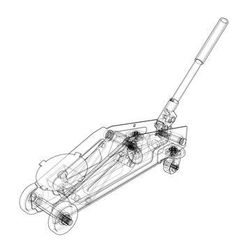 Hydraulic floor jack outline. Vector