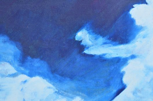 Thin and broad white watercolor smears on a blue background