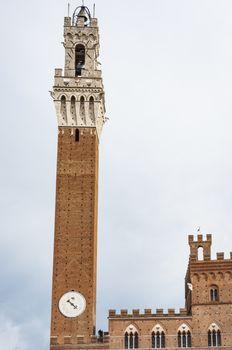 Tower of the Palazzo Pubblico in Piazza del Campo in Siena, Italy