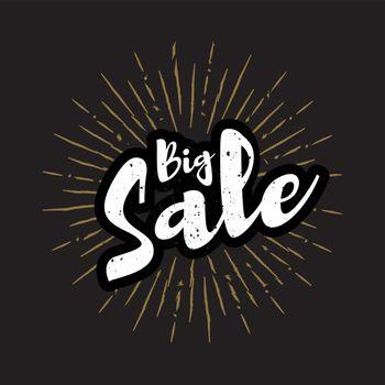 Big sale lettering with sunbursts background. Vector illustration